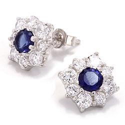 Blå ørestikker med stenen safir